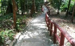 nekonečné schody, v tom vedru to stoupání je fakt výživné....