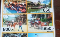 Nabízené atrakce, cena v thajských bahtech