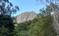 pohled na vrchol hory kde je Sky Bridge