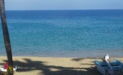 Karibik je nádherně modrý zde jsem ještě čekala na připlutí Katamaránu