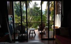 Pohled z apartmánu na balkon, pohled z balkonu jak do botanické zahrady