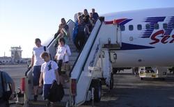 výstup z letadla v Hurghadě